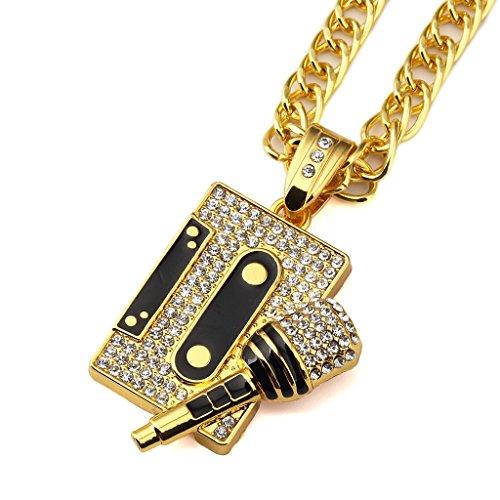 Tidoo Jewelry Mens Cool Hip Hop Tape&Microphone Pendant Golden Necklaces