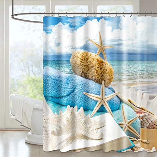 VIS'V Shower Curtain, 72 x 72 Inch Water Resistant Polyester Fabric Shower Curtain Machine Washable with 12 Hooks for Bathroom - Beach Shells