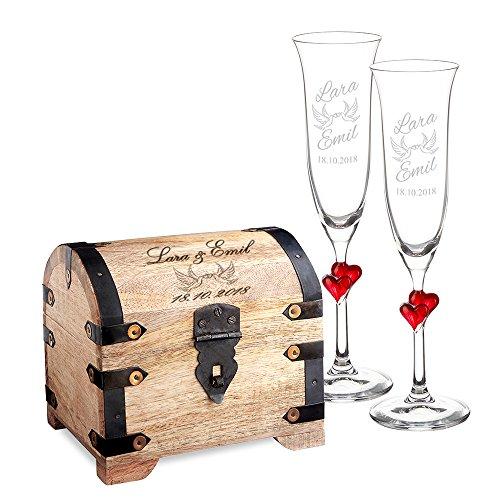 Casa Vivente Geschenkset zur Hochzeit – Sektgläser und große Schatztruhe mit Gravur – Motiv Tauben – Personalisiert mit Namen und Datum – Hochzeitsgeschenke für Brautpaar