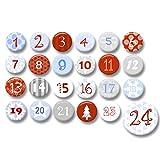 Polarkind 24 Adventskalender Buttons zum selber basteln DIY Zahlen Set 38mm Plus 59mm