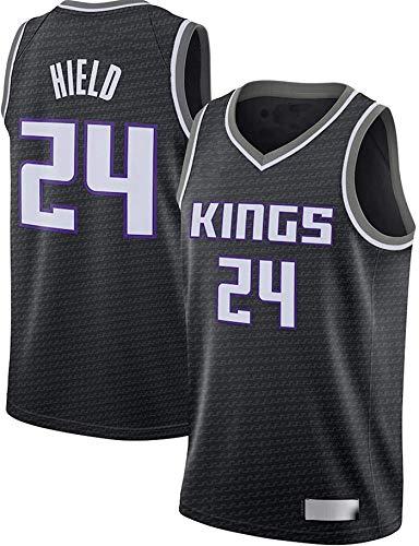 FEZBD Jerseys De Baloncesto De Los Hombres, Sacramento Kings # 24 HIRN HISTO DE LA NBA Uniformes De Baloncesto T-Shirts,Negro,L175~180cm