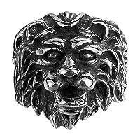 ZRABCD 指輪 Dom Dom 男性用 ビンテージ ライオンヘッド リング 、 チタン鋼 クリエイティブ のため 記念日 お誕生日 贈り物 、 / Punk / 18.1mmNo.8