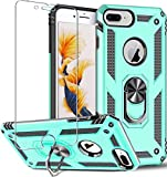 Funda para iPhone 8 Plus,iPhone 7 Plus,iPhone 6s Plus/6 Plus,Funda Protectora de Pantalla de 360 Grados, Anillo de Metal Giratorio Delgado,absorción Golpes,Esquinas reforzadas TPU Suave 5.5' Menta