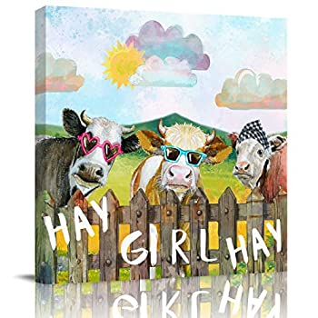 Canvas Print Wall Art Hay Girl Hay Farm Cow Cloud Sun Giclee Print Farmhouse Style Oil Painting on Canvas Wrapped Stretched Wooden Ready to Hang