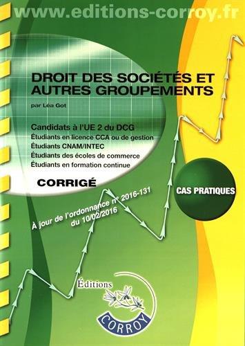 Droit des sociétés et autres groupements - Corrigé: UE 2 du DCG