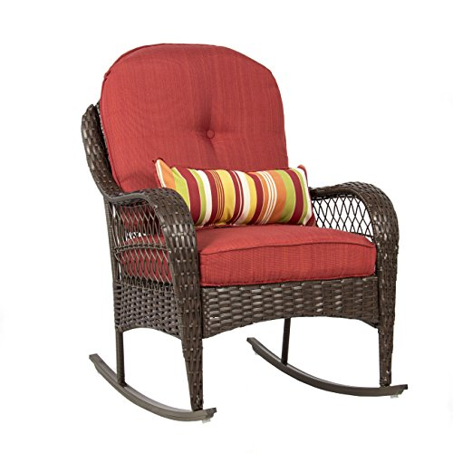 Best Choice Products Outdoor Wicker Rocking Chair for Patio, Porch, Deck, w/Weather-Resistant Cushions - Red