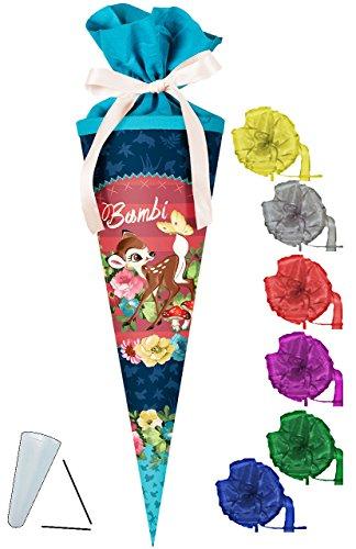 alles-meine.de GmbH Schultüte -  Disney - REH Bambi  - 50 cm - rund - incl. Schleife - mit Tüllabschluß - Zuckertüte - mit / ohne Kunststoff Spitze - für Jungen & Mädchen / REH..