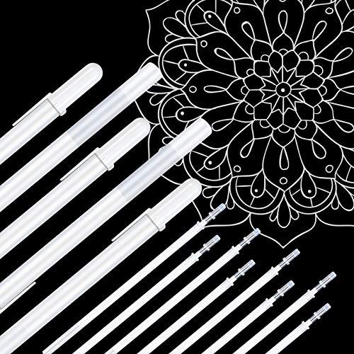 Vicloon Penne Gel Bianche, 13Pcs Penna Bianca per Artisti, 0.8 mm Fine Punti Evidenziare Penne di Schizzo, Penne di Inchiostro Gel Bianche per Artisti Scuri Carte da Disegno Forniture di Artistico