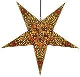 Guru-Shop Estrella de Papel Iluminada Para el Adviento Plegable, Poinsettia 60 cm - Amarillo Menor/mezcla, Star Fensterdeko