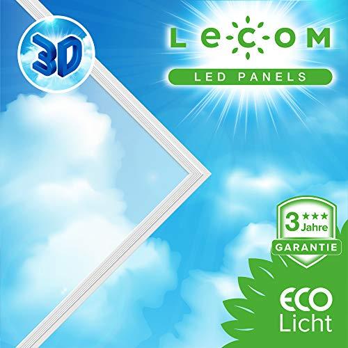 LECOM LED Panel 62x62 3D-SKY blauen Himmels mit weißen Wolken Deckenleucte Wohnzimmerlampe Büro Praxis Deckenlampe Zertifiziert