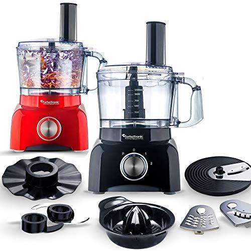 TurboTronic/Food Processor / 1,2L / schwarz, rot/Küchenmaschine mit Mixaufsatz, Raspelscheiben, Zitruspressenaufsatz