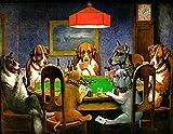 Rompecabezas 1000 Piezas Pantera Negra En El Bosque Perro Jugando Al Poker. Diy Rompecabezas De Madera Regalo Único Estilo De Decoración Para El Hogar