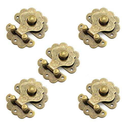 Youliang - 5 broches de Cierre con Hebilla de Flor para cajones, armarios, Joyas, Cajas de Madera