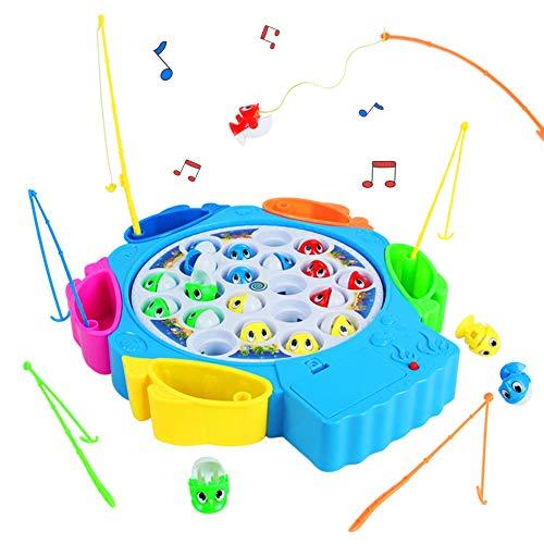 Juegos de Mesa de Pesca Musical 21pcs Peces Juguete con 6 Ca