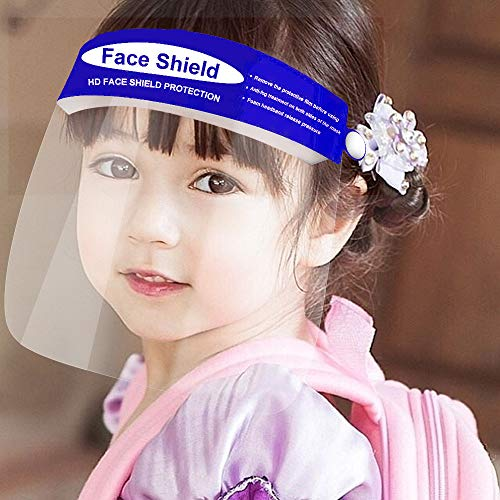 5Pcs Kids Protective Face Shield,Clear Safety,Protect Eyes and Face, Facial Cover for Children Outdoor Sports Headwear (5Pcs, Blue)