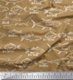 Soimoi Braun Baumwoll-Voile Stoff Fisch Ozean Stoff