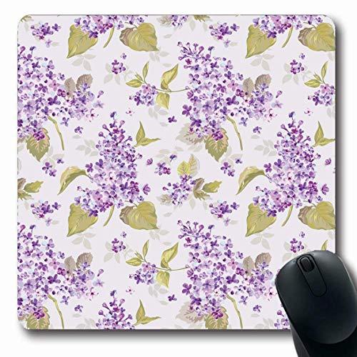 Jamron Mousepad OblongVintage Felicitación Cumpleaños Floral Textil Lila Patrón en Scrap Happy Day Bloom Texturas Antideslizante Goma Alfombrilla de ratón Ordenador de oficina Ordenador portátil Juego