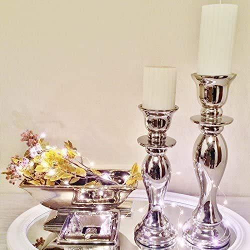 DRULINE Kerzenleuchter Kerzenhalter Geschwungen 2er Set Größe, 32/38cm Antik Kerzenständer Kerzeneinsatz Stumpenkerzen Tafelkerze Taufkerzen Teelichthalter Dekoration Silber