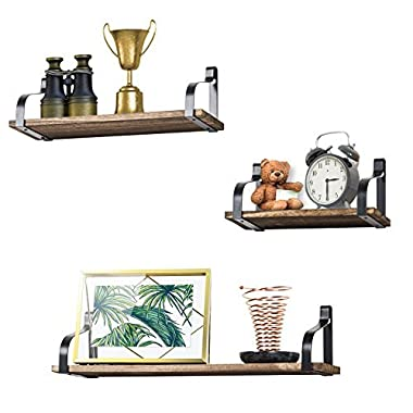 Love-KANKEI Floating Shelves Wall Mounted Set of 3 by, Rustic Wood Wall Storage Shelves for Bedroom, Living Room, Bathroom, Kitchen, Office and More