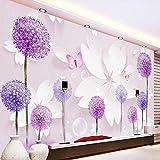 WPFZH 3D Mural Habitación Paisaje Papel Pintado Diente de león Flores Mariposa Mural de pared Sala de estudio Papel de pared Sofá Telón de Fondo Mejoras para el hogar-280x180cm