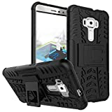 CASSIEY Heavy Duty Shockproof Military Grade Armor Dual Protection Layer TPU & Polycarbonate Hybrid Kick Stand Back Cover Case for Asus Zenfone 3 ZE552KL 5.5 inch (Black)