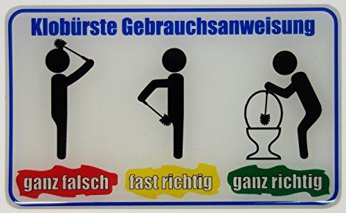 Bike Label Fun-Aufkleber 3D 900049 Klobürste Gebrauchsanweisung Hinweisschild Türschild Toilettenschild WC Klo Spass