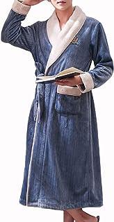 ZZHF shuiyi パジャマ、綿の厚手の快適な保つ暖かい寝間着男性の冬の長いサイズのサイアムパジャマのぬいぐるみ色肌に優しいバスローブ、グレーブルー 寝間着 (色 : Gray-blue, サイズ さいず : XXL)