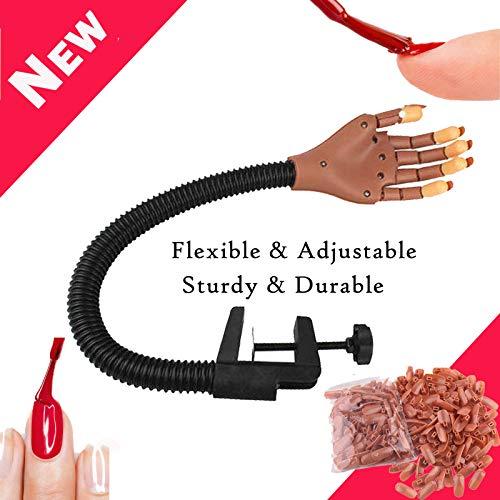 Outil de manucures de maquillage - Outil de formation à la main flexible réglable à ressort pratique Manucures avec 1 paquet (100 pièces) Recharge de faux ongles