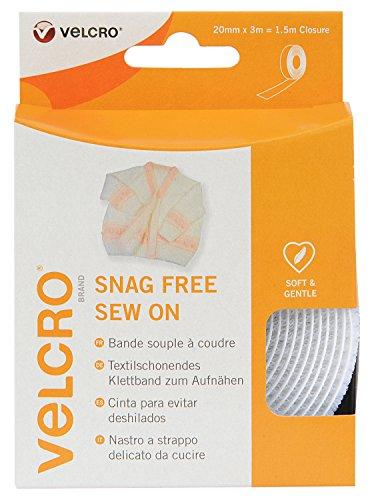 VELCRO - Snag Free Nähen auf Band 20mm x 3 Meter weiß -