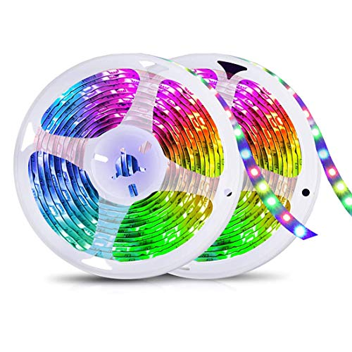 Striscia LED 10M, Strisce LED RGB 5050 Multicolore, Tagliabile e IP65 Impermeabile, Luci Led Colorate per Decorazioni Cucina, Salotto, Bar, Festa, Natale, TV [Classe di efficienza energetica A+++]