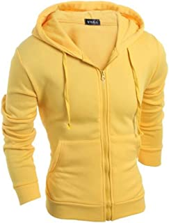FSSE Men Hoodie Basic Sport Solid Color Zip Up Slim Fit Sweatshirt Jacket Coat