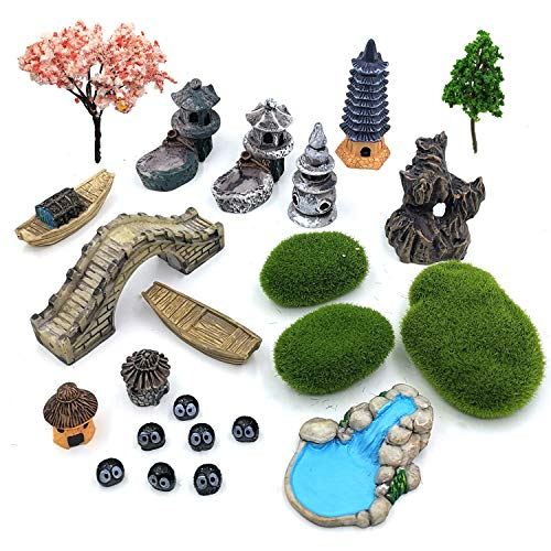 Trasfit Set of 23 Zen Garden Accessories, Mini Meditation Zen Tray Items Kit, Fairy Garden Accessories for Micro Landscape Decoration Plant Pots Bonsai Craft Decor
