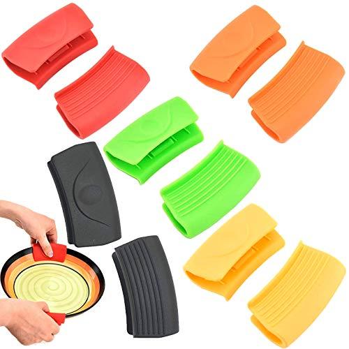 WZYTEU 5 pares de asas de silicona, antiquemaduras, para sartenes de hierro fundido, para cocinar en casa o en la cocina (5 colores)
