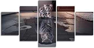 XDXART 5 pcs Home Decor Pictures Canvas Printed Painting, Decor Art - Cat and Tiger Wall Art Oil Paintings Printed Pictures (Without Wooden Frames) (8x14x2p+8x18x2p+ 8X22inch)