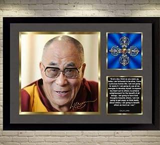 SGH SERVICES Dalai Lama Firmado póster con Foto autografiada con Marco para la Felicidad Firmado Enmarcado póster preimpreso