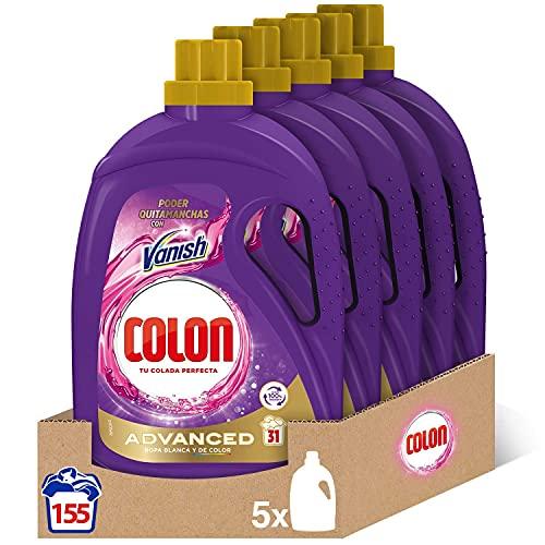 Colon Vanish Advanced - Detergente para lavadora con quitamanchas, adecuado para Ropa Blanca y de Color, Formato Gel - Pack de 5, hasta 155 dosis