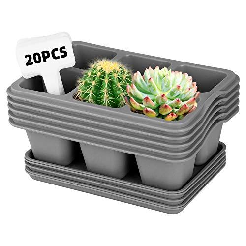 ANSUG 5 Stück Dick Plastik Blumentöpfe mit Palette, 6 Zellen Quadrat Kunststoff Sukkulenten Pflanzer Kaktus Blumentopf mit Drainageloch und Etikett für Zimmerpflanzen, Blumen, Kräuter, Sukkulenten