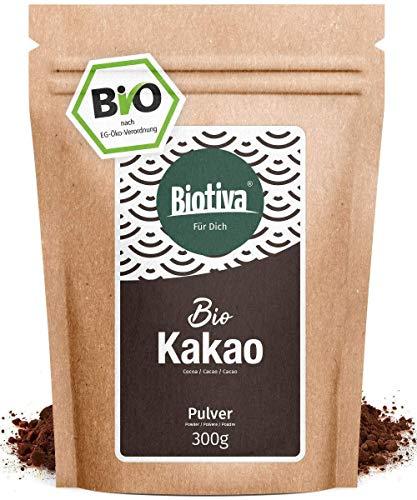 Kakao Pulver Bio 300g - 100% reines Kakaopulver stark entölt (11% Fett) - ohne Zucker - ohne Zusatzstoffe - hochwertigste Biotiva® Qualität - Abgefüllt und kontrolliert in Deutschland (DE-ÖKO-005)