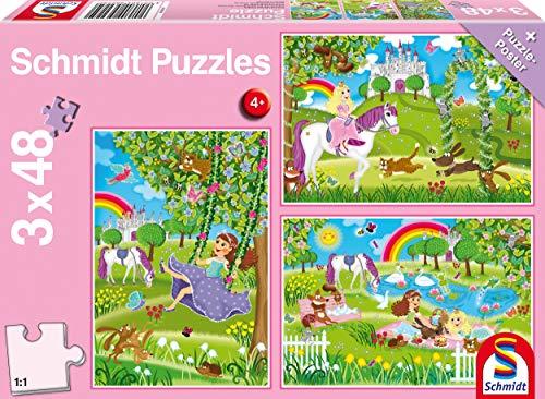 Schmidt Spiele 56225 Prinzessin im Schlossgarten, 3 x 48 Teile Kinderpuzzle