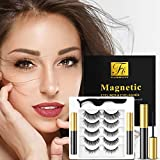 5 Pairs Magnetic Eyelashes with Eyeliner Kit, Including 1 Forceps and 2 Magnetic Eyeliner, Glue Free and Reusable, 3D Magnetic Lashes Look Natural, Waterproof and Stain Resistant