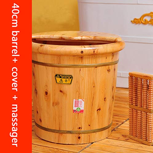 For Sale! Foot Massager Cypress Wood Foot Bucket with lid, Fumigation, Pedicure, deep Barrel (Size :...