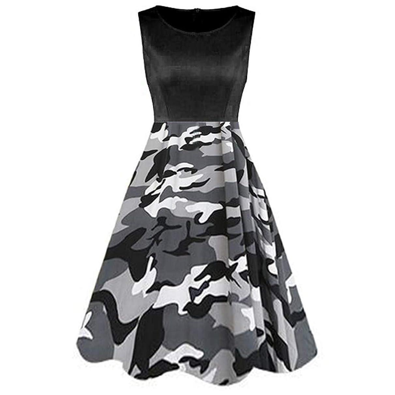 TUSANG Women Skirt Vintage Sleeveless Ladies Dress Printed Dinosaur Tunic Tank Loose Hem Dress