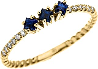 14k Yellow Gold Three Stone Princess Cut Sapphire and Diamond Dainty Rope Design Ring