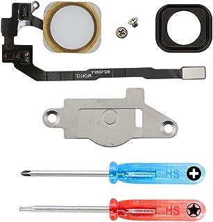MMOBIEL Repuesto Botón de Inicio Home Compatible con iPhone 5S (Oro) con CableFlex Soporte Metálico Inc Destonilladores