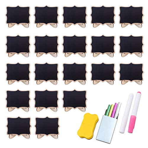 WAHSBAG Portatarjetas de lugar, 20 etiquetas de pizarra con marco de madera blanca con soporte de caballete mini pizarra