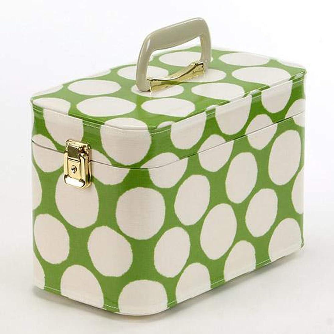 切り離すテレビ局かなりの日本製 メイクボックス(コスメボックス) 水玉柄 緑 トレンケース30cm (鍵付き/コスメボックス)