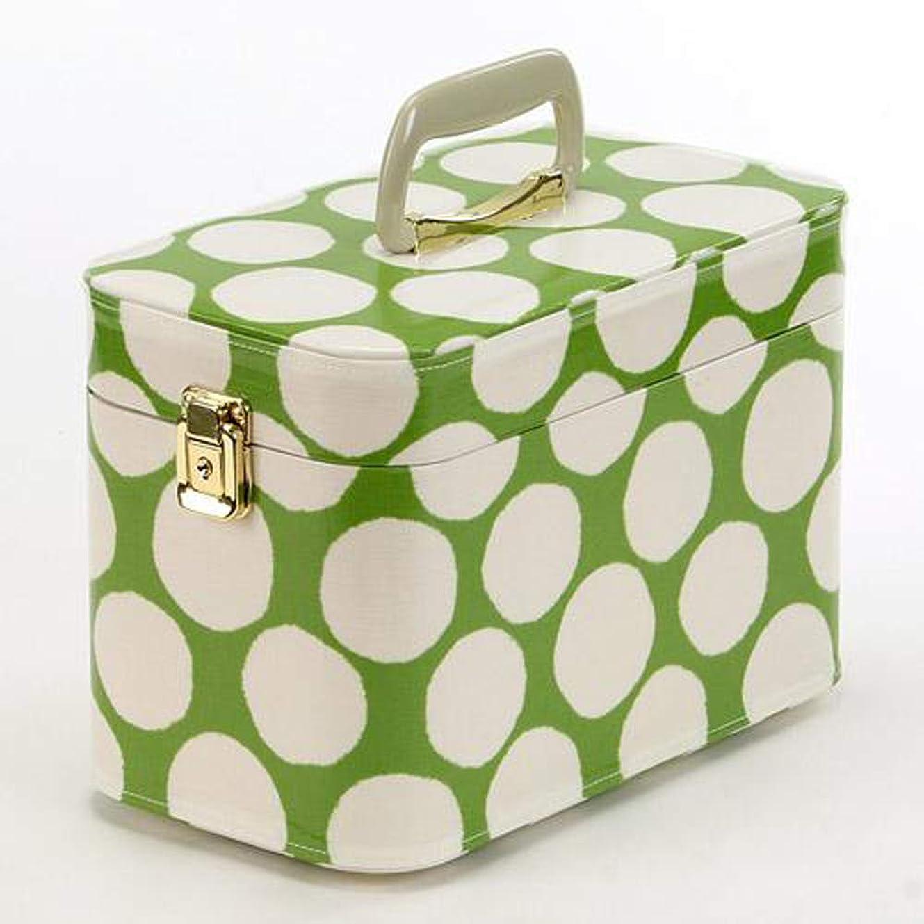 素晴らしい良い多くの留め金インターネット日本製 メイクボックス(コスメボックス) 水玉柄 緑 トレンケース30cm (鍵付き/コスメボックス)