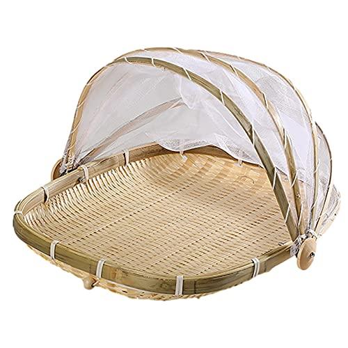 Window-pick Mand voor tent, voor het serveren van levensmiddelen, mand voor levensmiddelen, van bamboe, picknickmand, handgeweven, keuken, als deken voor levensmiddelen, muggen, voor brood, groenten, fruit