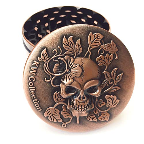 KW Collection Zinc Alloy Spice Grinder Grater Copper 2.5'/63mm 4 Piece with Free Pollen Catcher (2.5'×1.75', 4 pieces, grinder only, Antique Copper, Skull Head Designed on top)