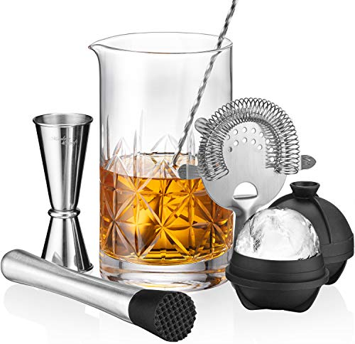 Crystal Cocktail Mixing Glass Set | 7-Piece Mixing Glass Bartender Set with 24oz Cocktail Stirring Glass Beaker, Japanese Jigger, Bar Mixer Spoon, Muddler and Strainer for an Awesome Mixing Experience